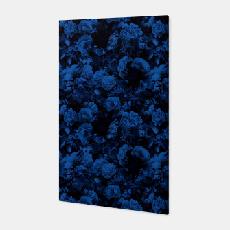 winter flowers seamless pattern 01 small dark blue Canvas thumbnail image