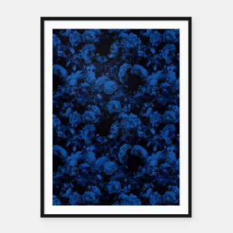 winter flowers seamless pattern 01 small dark blue Framed poster thumbnail image