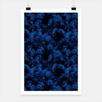 winter flowers seamless pattern 01 small dark blue Poster thumbnail image