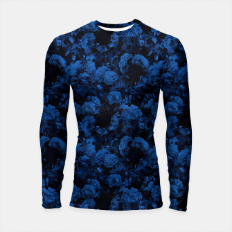 winter flowers seamless pattern 01 small dark blue Longsleeve rashguard  thumbnail image