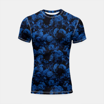 winter flowers seamless pattern 01 small dark blue Shortsleeve rashguard thumbnail image