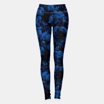 winter flowers seamless pattern 01 small dark blue Leggings thumbnail image