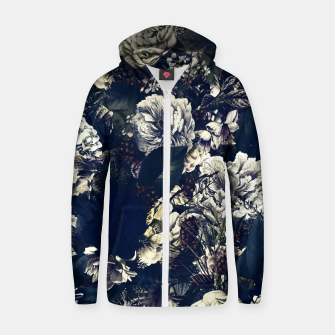 winter flowers seamless pattern 01 big foggy night Zip up hoodie thumbnail image