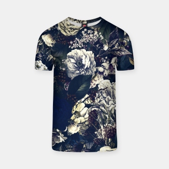 winter flowers seamless pattern 01 big foggy night T-shirt thumbnail image