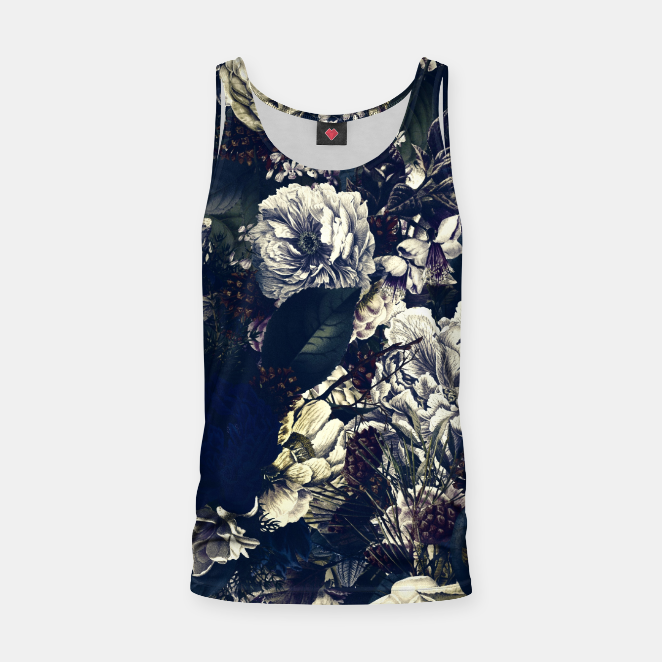 Image of winter flowers seamless pattern 01 big foggy night Tank Top - Live Heroes