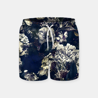 winter flowers seamless pattern 01 big foggy night Swim Shorts thumbnail image