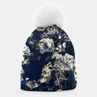 winter flowers seamless pattern 01 big foggy night Beanie thumbnail image