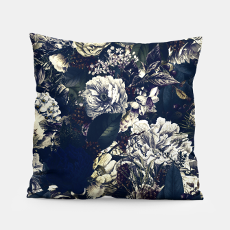 winter flowers seamless pattern 01 big foggy night Pillow thumbnail image