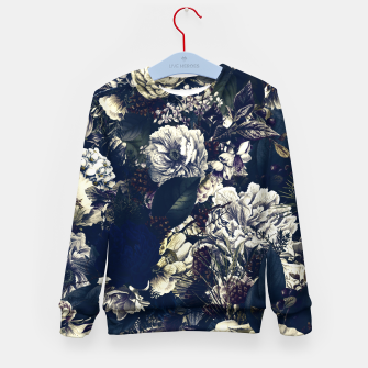 winter flowers seamless pattern 01 big foggy night Kid's sweater thumbnail image