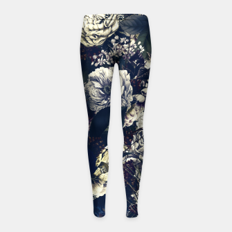 winter flowers seamless pattern 01 big foggy night Girl's leggings thumbnail image