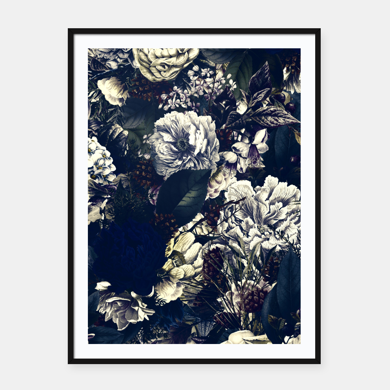 Image of winter flowers seamless pattern 01 big foggy night Framed poster - Live Heroes