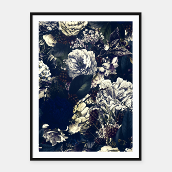 winter flowers seamless pattern 01 big foggy night Framed poster thumbnail image