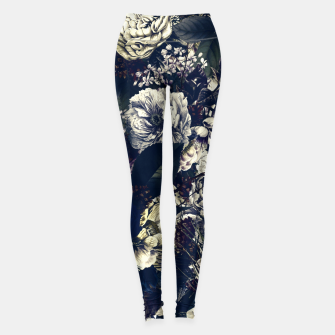 winter flowers seamless pattern 01 big foggy night Leggings thumbnail image