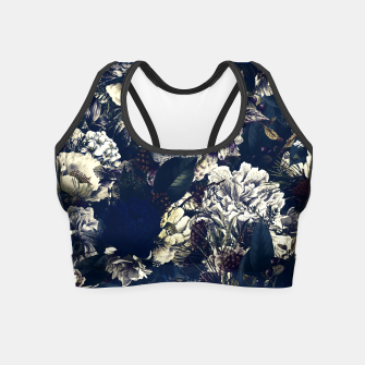 winter flowers seamless pattern 01 big foggy night Crop Top thumbnail image