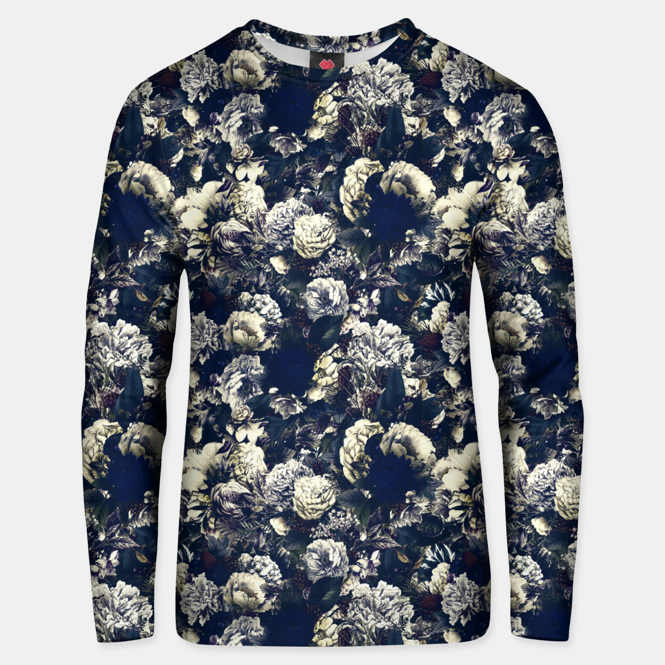 Image of winter flowers seamless pattern 01 small foggy night Unisex sweater - Live Heroes