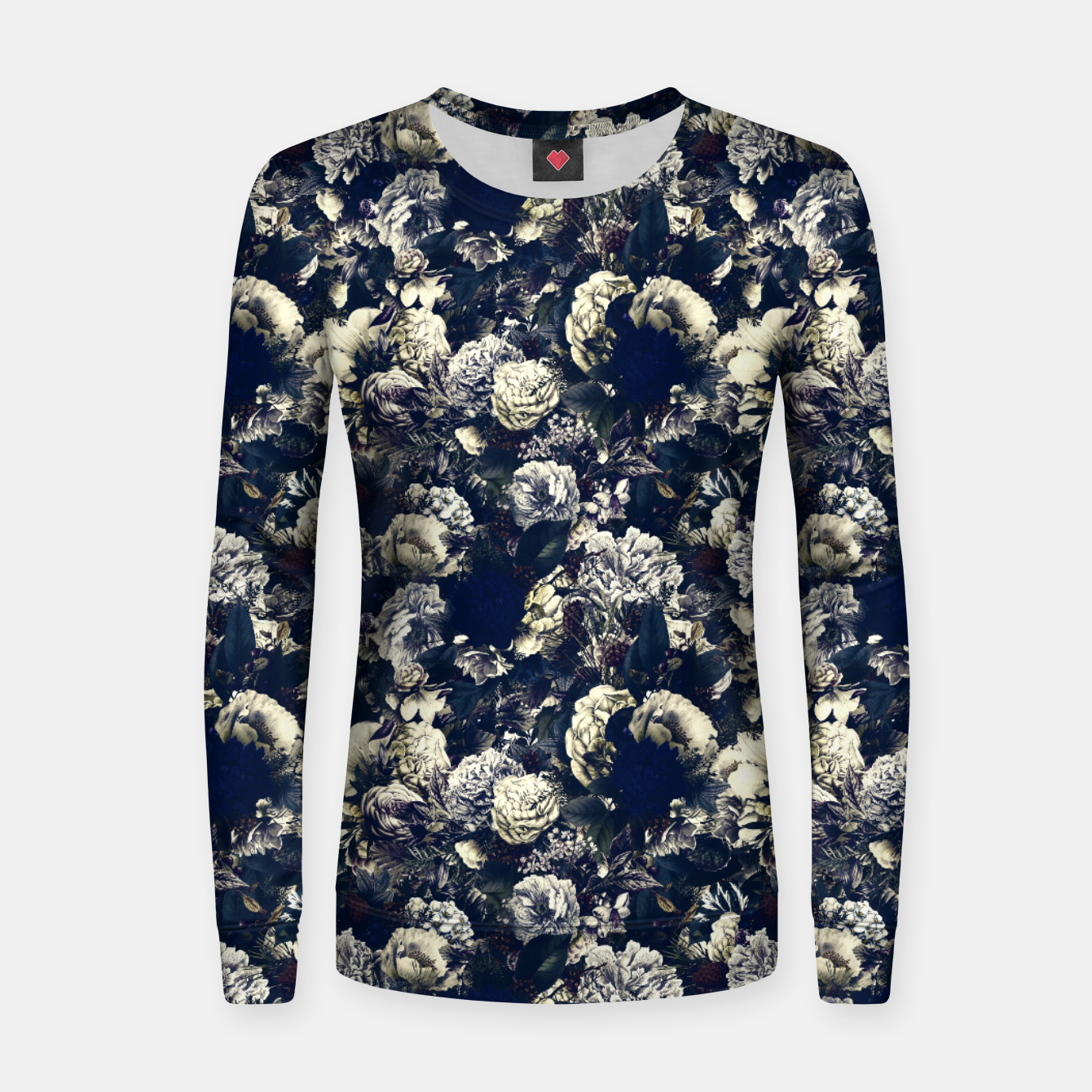 Image of winter flowers seamless pattern 01 small foggy night Women sweater - Live Heroes