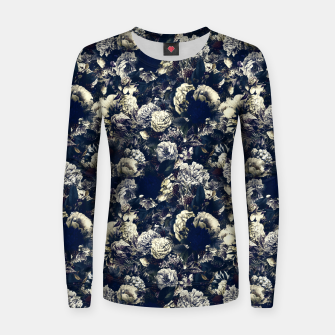 winter flowers seamless pattern 01 small foggy night Women sweater thumbnail image