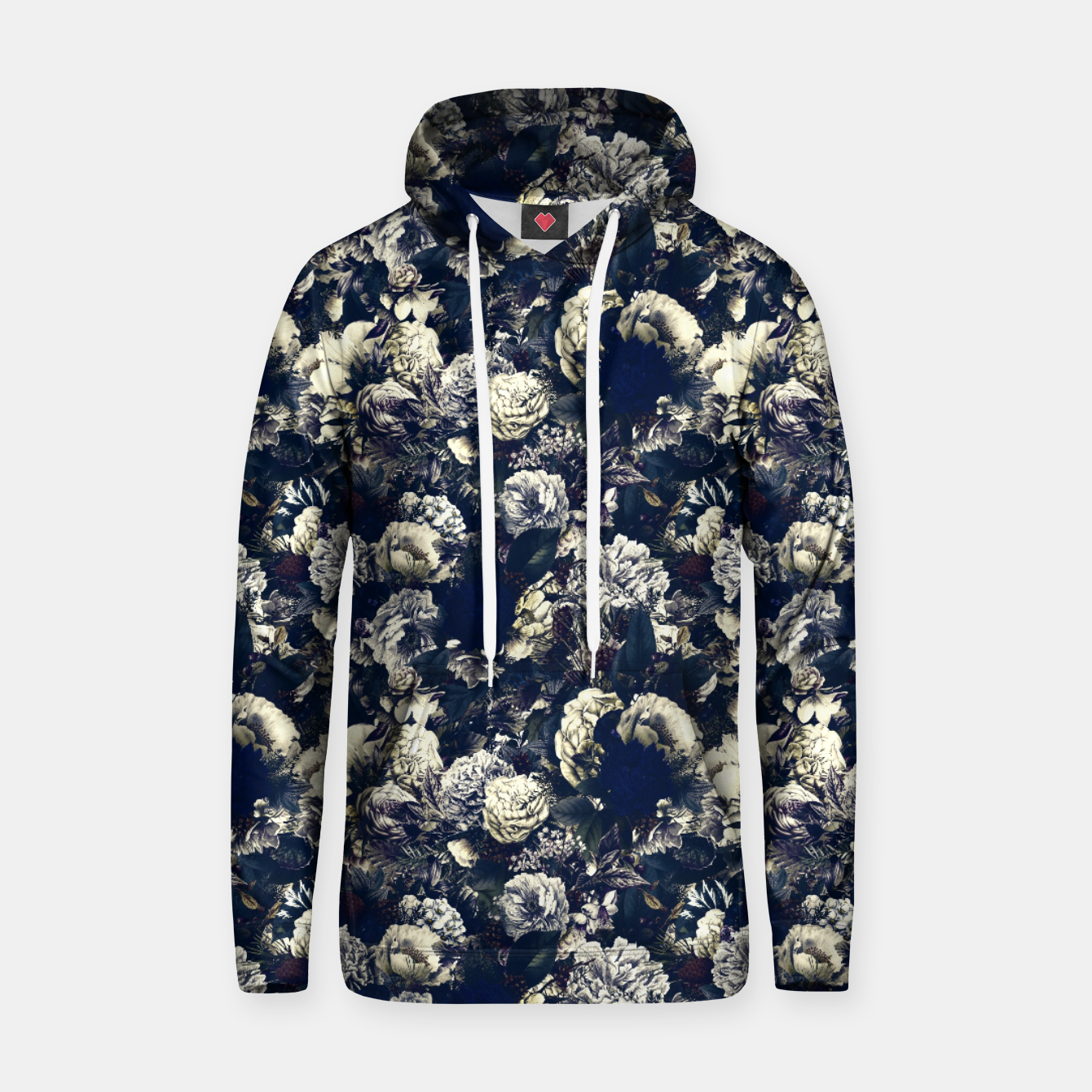 Image of winter flowers seamless pattern 01 small foggy night Hoodie - Live Heroes