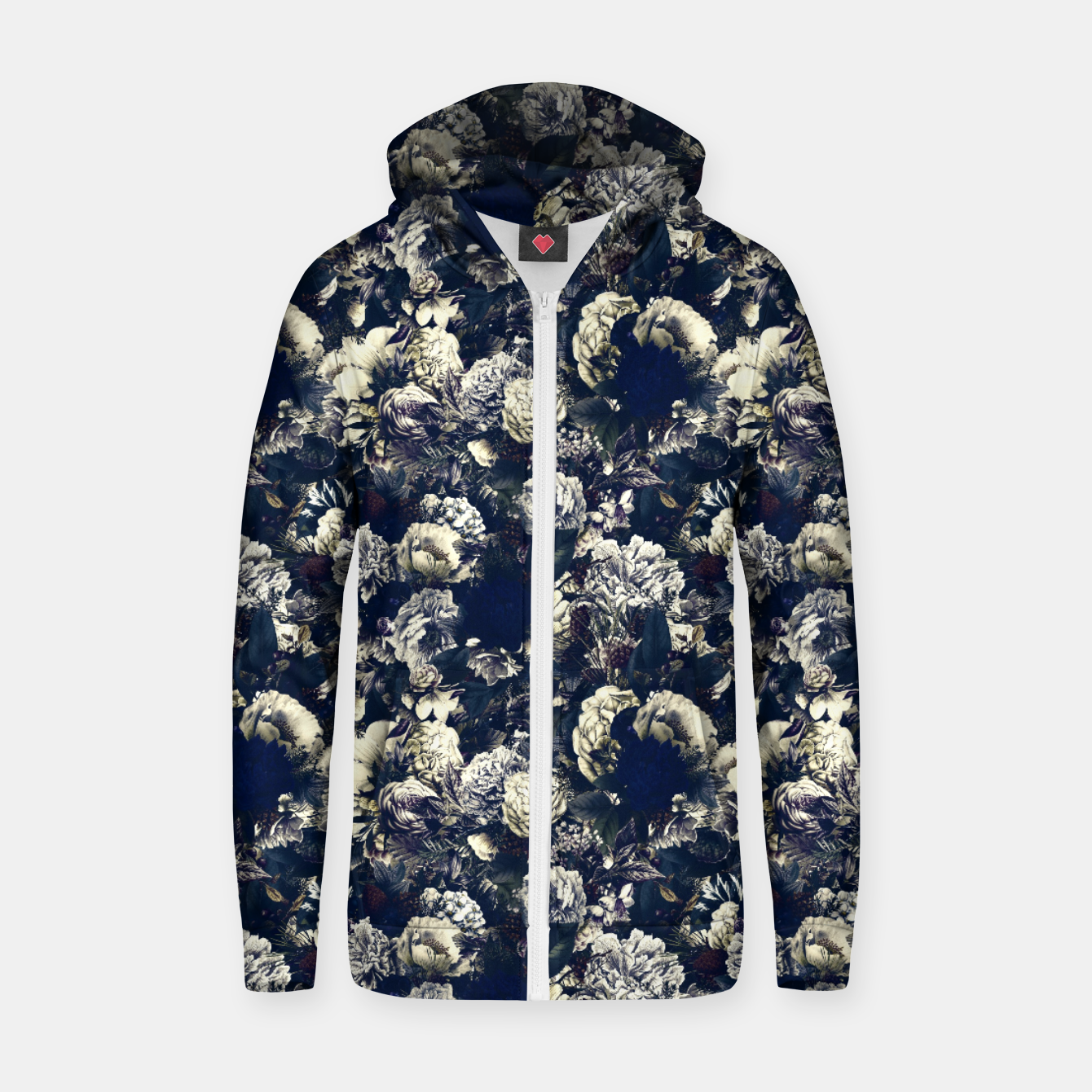 Image of winter flowers seamless pattern 01 small foggy night Zip up hoodie - Live Heroes