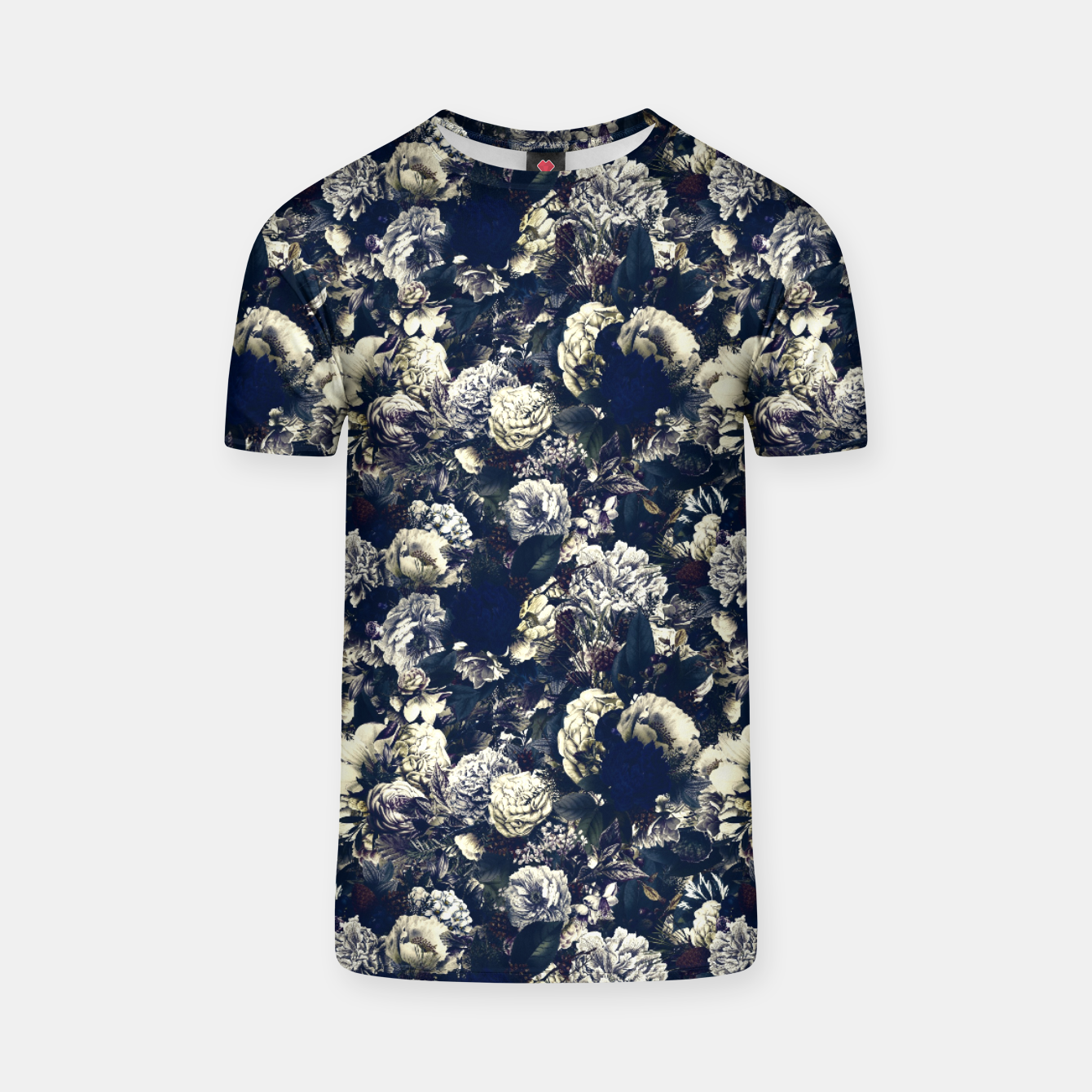 Image of winter flowers seamless pattern 01 small foggy night T-shirt - Live Heroes