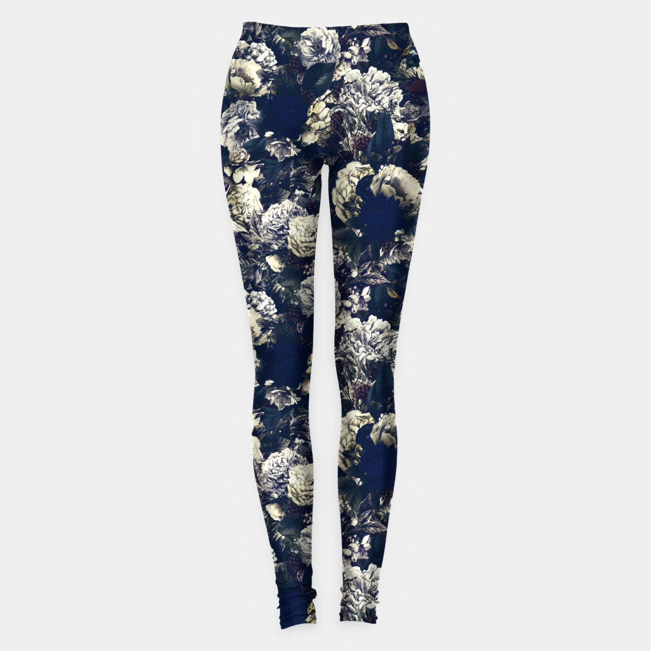 Image of winter flowers seamless pattern 01 small foggy night Leggings - Live Heroes
