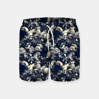 winter flowers seamless pattern 01 small foggy night Swim Shorts thumbnail image