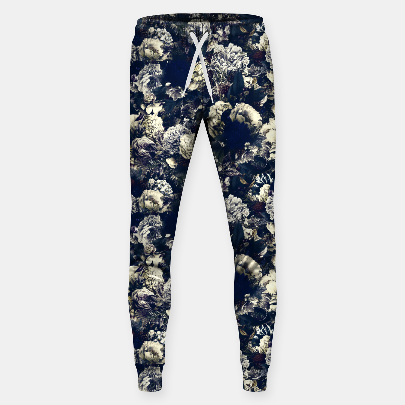 Image of winter flowers seamless pattern 01 small foggy night Sweatpants - Live Heroes