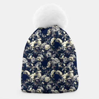 winter flowers seamless pattern 01 small foggy night Beanie thumbnail image