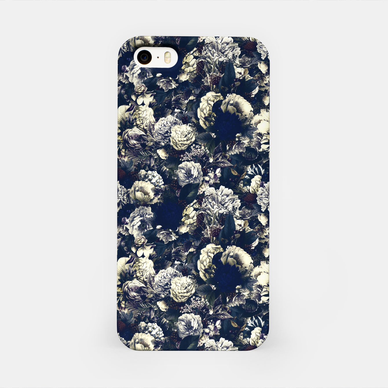 Image of winter flowers seamless pattern 01 small foggy night iPhone Case - Live Heroes