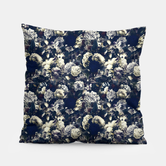 winter flowers seamless pattern 01 small foggy night Pillow thumbnail image