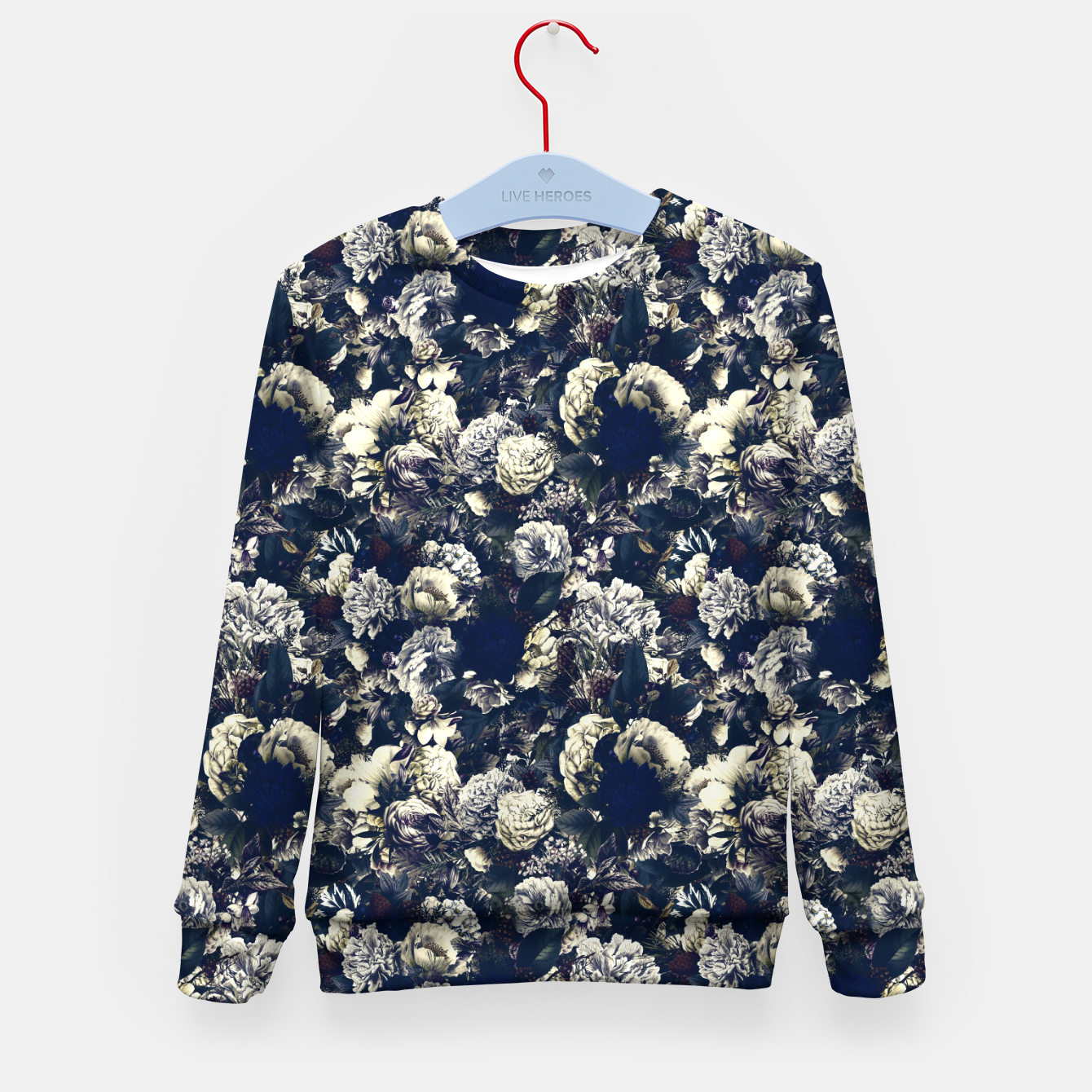 Image of winter flowers seamless pattern 01 small foggy night Kid's sweater - Live Heroes