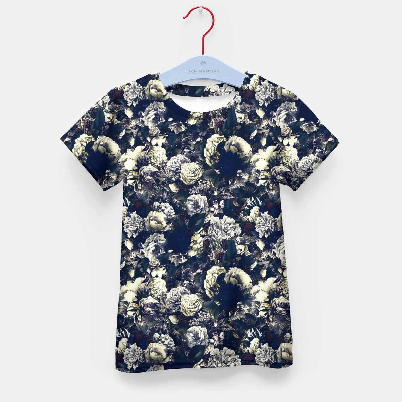 Image of winter flowers seamless pattern 01 small foggy night Kid's t-shirt - Live Heroes