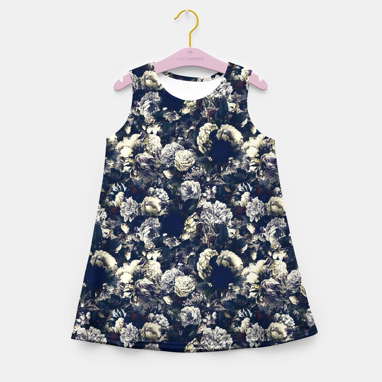 Image of winter flowers seamless pattern 01 small foggy night Girl's summer dress - Live Heroes