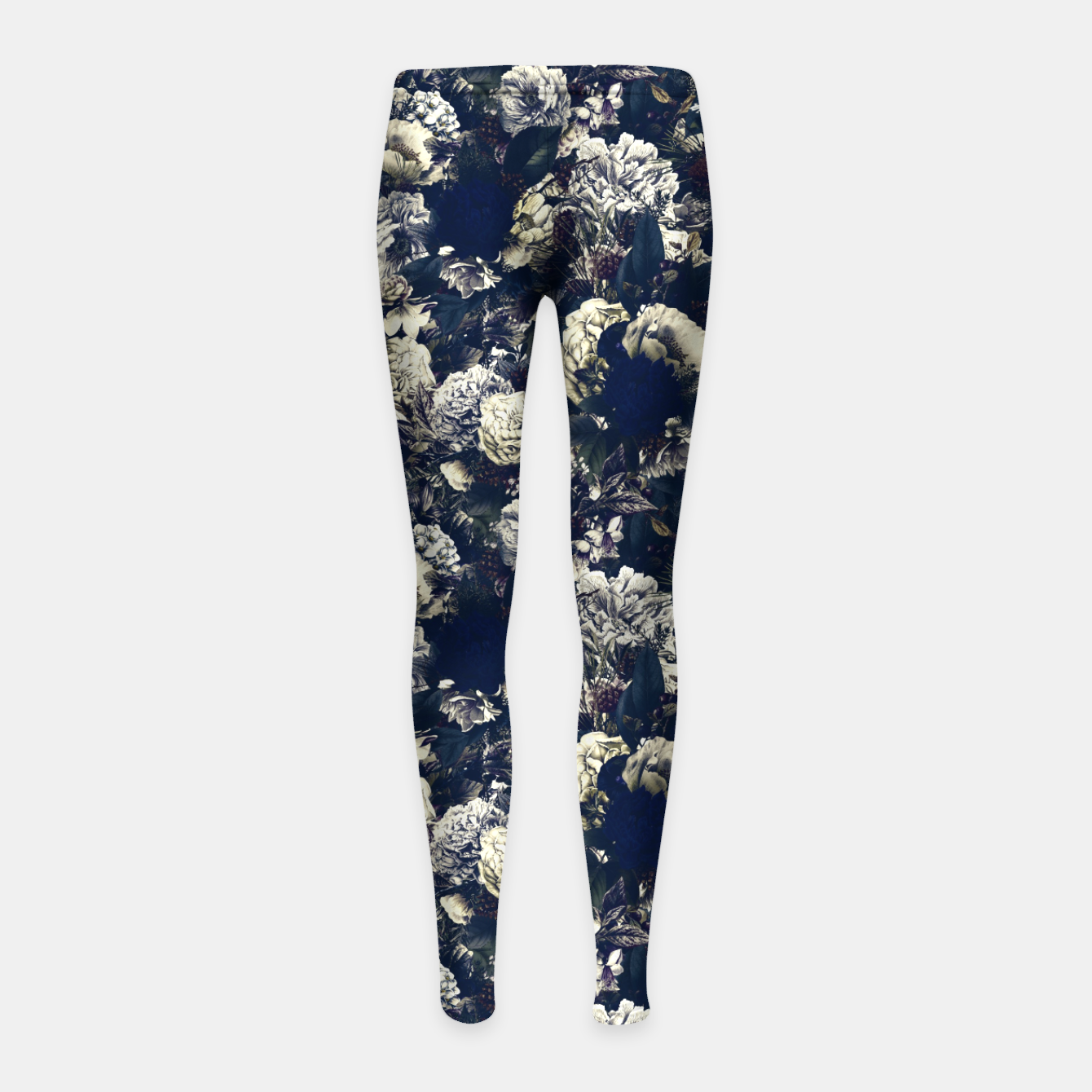 Image of winter flowers seamless pattern 01 small foggy night Girl's leggings - Live Heroes