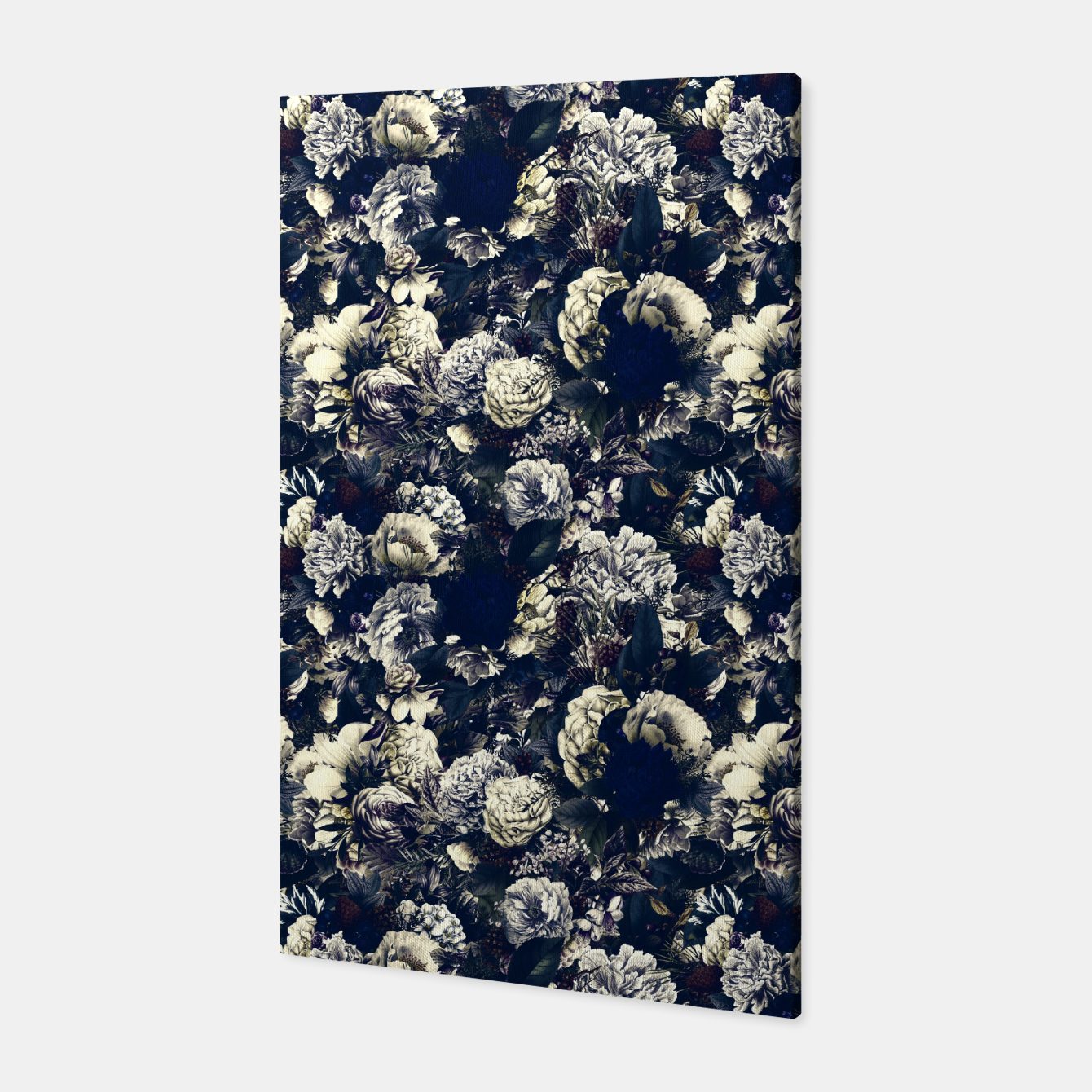 Image of winter flowers seamless pattern 01 small foggy night Canvas - Live Heroes