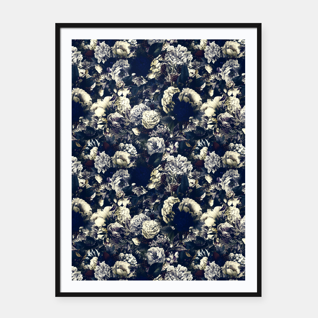 Image of winter flowers seamless pattern 01 small foggy night Framed poster - Live Heroes