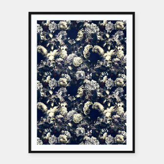 winter flowers seamless pattern 01 small foggy night Framed poster thumbnail image