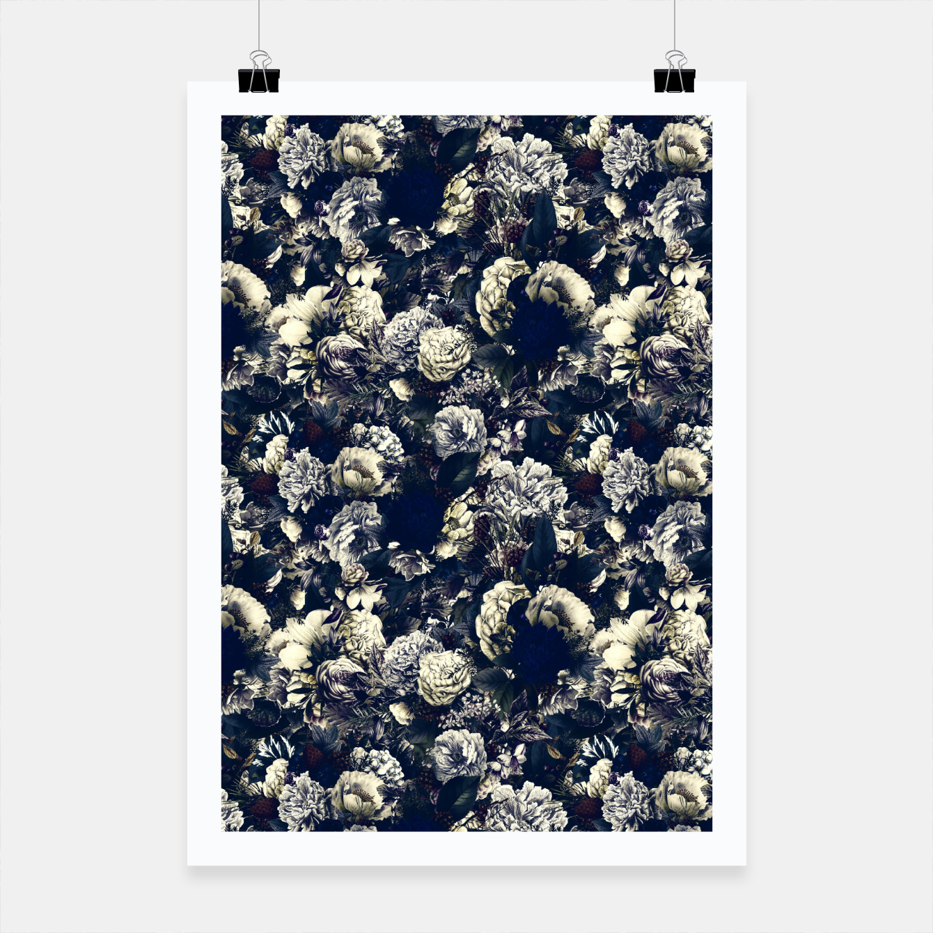 Image of winter flowers seamless pattern 01 small foggy night Poster - Live Heroes