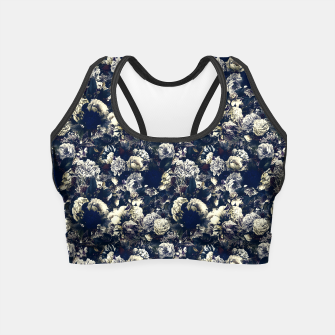 winter flowers seamless pattern 01 small foggy night Crop Top thumbnail image