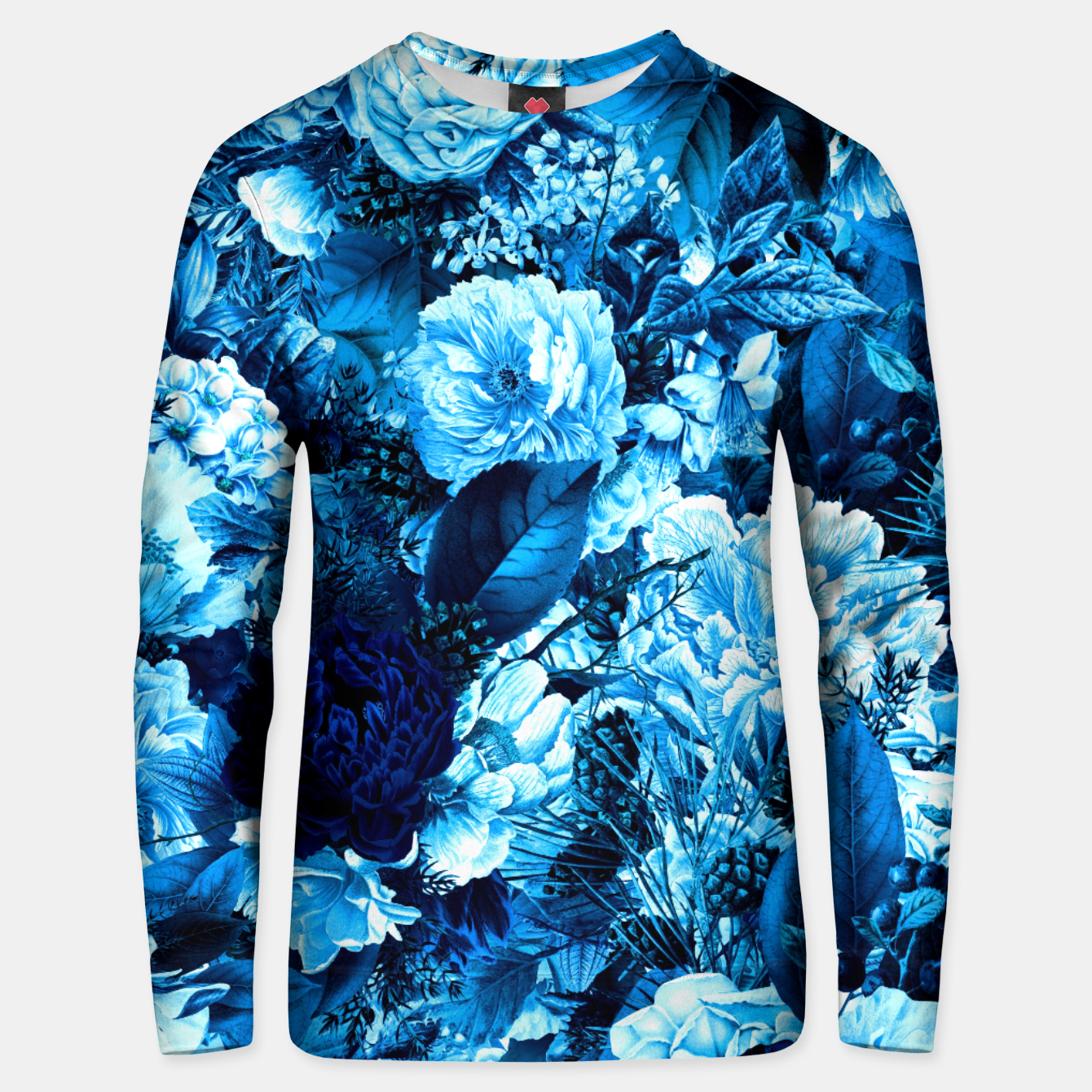 Image of winter flowers seamless pattern 01 big icy blue Unisex sweater - Live Heroes