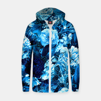 winter flowers seamless pattern 01 big icy blue Zip up hoodie thumbnail image