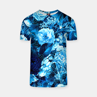 winter flowers seamless pattern 01 big icy blue T-shirt thumbnail image