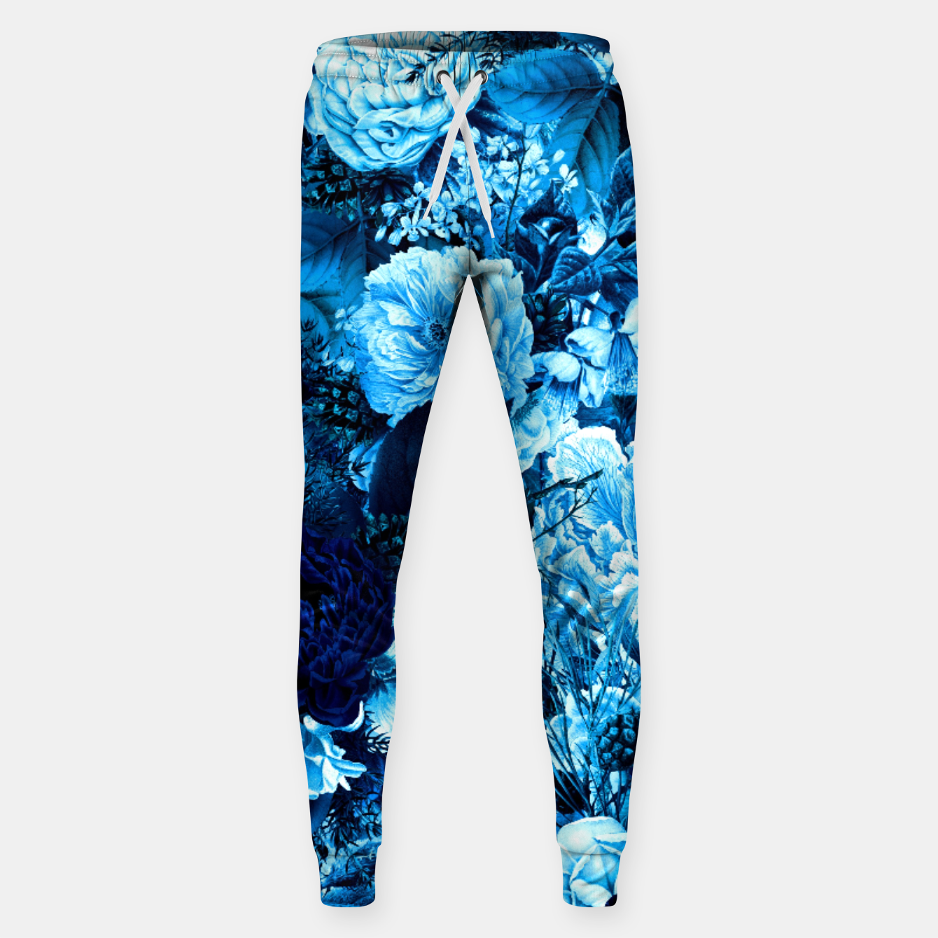 Image of winter flowers seamless pattern 01 big icy blue Sweatpants - Live Heroes