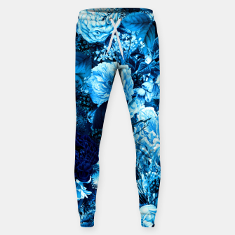 winter flowers seamless pattern 01 big icy blue Sweatpants thumbnail image