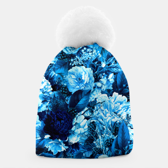 winter flowers seamless pattern 01 big icy blue Beanie thumbnail image