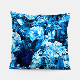 winter flowers seamless pattern 01 big icy blue Pillow thumbnail image