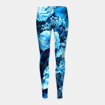 winter flowers seamless pattern 01 big icy blue Girl's leggings thumbnail image