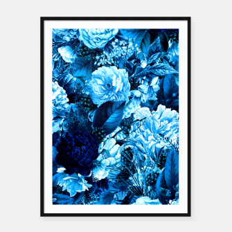 winter flowers seamless pattern 01 big icy blue Framed poster thumbnail image