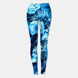 winter flowers seamless pattern 01 big icy blue Leggings thumbnail image