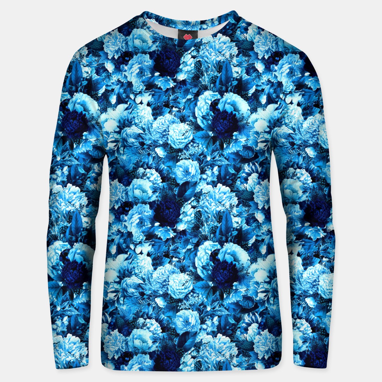 Image of winter flowers seamless pattern 01 small icy blue Unisex sweater - Live Heroes